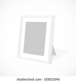 White photo frame. Vector illustration.
