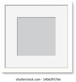 White photo frame vector template. White elegant frame with passepartout hanging on the wall. Blank frame mockup isolated on background.