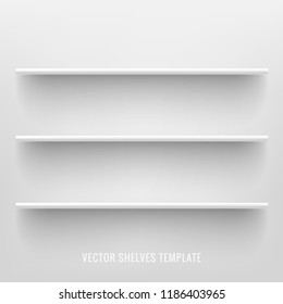 White photo realistic shelves on white background. Front view of clean empty supermarket store shelves. Vector illustration.