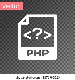 White PHP file document icon. Download php button icon isolated on transparent background. PHP file symbol. Vector Illustration