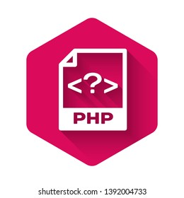White PHP file document icon. Download php button icon isolated with long shadow. PHP file symbol. Pink hexagon button. Vector Illustration