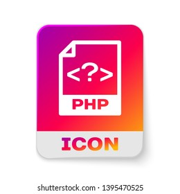 White PHP file document icon. Download php button icon isolated on white background. PHP file symbol. Rectangle color button. Vector Illustration