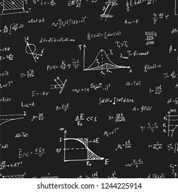 White physical formulas at black background. Thermodynamics, electrodynamics, electrostatics, quantum physics, Rayleigh formula, Maxwell equation. Vector equation pattern for printing.