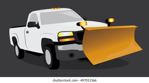 White pick up truck with a snow plow