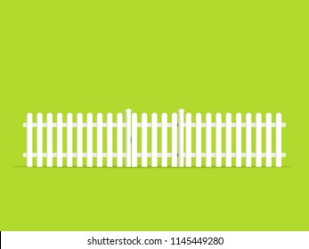 White picket fence with gate icon. Clipart image isolated on green background