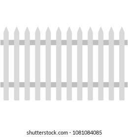 White Picket Fence Illustration - Traditional white picket fence representing American dream of suburbia