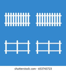 White picket fence. Vector illustration isolated on background