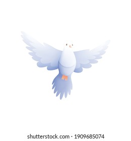 White pigeon dove composition with isolated flat image of flying bird with wings vector illustration