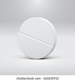 White pill on a grey background, realistic vector illustration