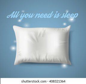 White Pillow with magic on Blue Background with Real Shadow. Top View of a Soft Colorful Pillow with Copy Space for Tex or Image. Vector illustration EPS10