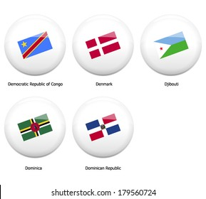 white pin badges with flag of all countries name started name by letter D