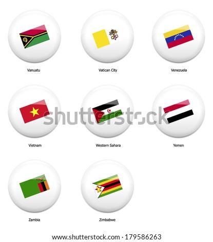 White Pin Badges Flag All Countries Vector de stock (libre de