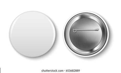 White pin button, vector. Pin button set. Collection of realistic pin buttons. White blank badge pin brooch isolated on white background. 3D vector style.  Web button.