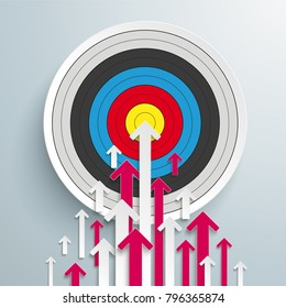 White and pink arrows with target on the gray background. Eps 10 vector file.