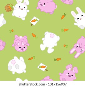 White and pink bunnies and carrots on green background (seamless vector pattern)