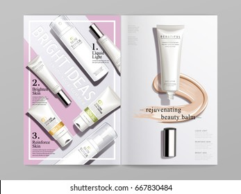 white and pink cosmetic themed bi fold brochure design, can also be used on catalogs or magazines, 3d illustration