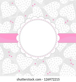 white and pink dotted hearts on light patterned background with white frame and pink ribbon horizontal background