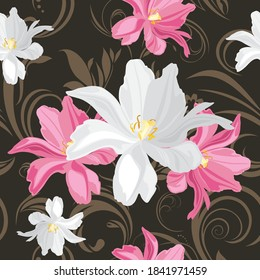 White and pink tulips on a ornamental background. Seamless pattern. Vector