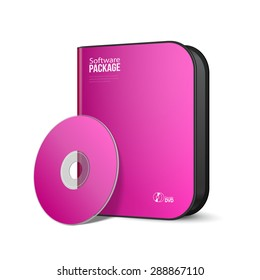 White Pink Violet Purple Rounded Modern Software Package Box With DVD, CD Disk Or Other Your Product EPS10
