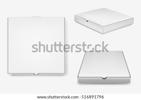 White Pizza Box Template Isolated On Stock Vector Royalty Free