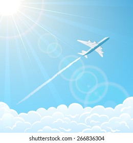 White plane on blue sky background flies over clouds, illustration.