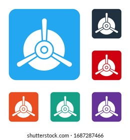 White Plane propeller icon isolated on white background. Vintage aircraft propeller. Set icons in color square buttons. Vector Illustration