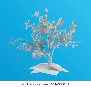 White Plaster Tree on Blue Background. Low Poly Vector 3D Rendering