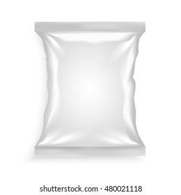 White plastic bag for chips snacks crisps peanuts another food for designers vector illustration