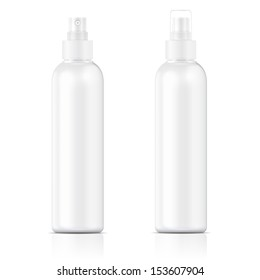 White plastic bottle (cosmo round style) with fine mist ribbed sprayer for cosmetic, perfume, deodorant, freshener. Ready for your design. Product packaging collection. Vector illustration. EPS10.