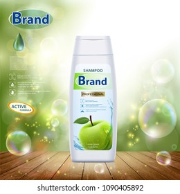 White plastic bottle with hair shampoo. Green apple on label. Product brand mockup design. Stock vector illustration.