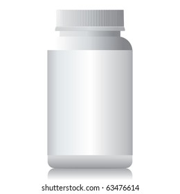 A white plastic bottle isolated.