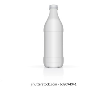 White plastic bottle with milk or yogurt for your design and logo. It's easy to change colors. Mock up Vector EPS 10