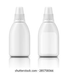 White plastic bottle template for nasal spray, eye drops, oil. Packaging collection. Vector illustration.