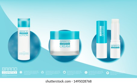 White plastic bottles for cosmetic creams, lotions, shampoo and gels with blue caps,package template, realistic design, vector illustration