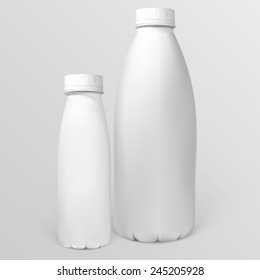 White plastic bottles for dairy products. Illustration contains gradient mesh. Any item can be easily removed.