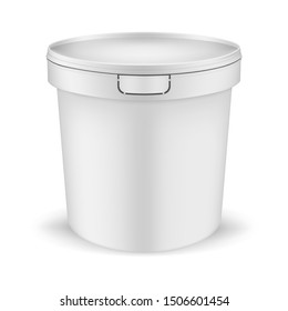 White plastic bucket with lid, realistic vector mockup. Blank packaging pail container, template.