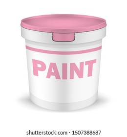 White plastic bucket with pink lid and label, vector mock-up. Packaging pail container for paint and other non-food and food products, template.