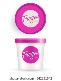 White Plastic Bucket With Pink Lid : Ice cream or Yogurt Container : Vector Illustration