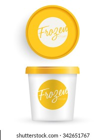 White Plastic Bucket With Yellow Lid : Ice cream or Yogurt Container : Vector Illustration