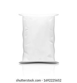 White Plastic Canvas Sand, Flour Or Rice Bag. EPS10 Vector