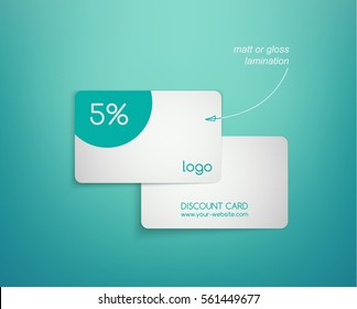 White plastic cards template on a turquoise background. Vector illustration of discount cards with shadows, front and back sides. Realistic mockup with hand-drawn arrow - index.