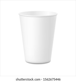 White plastic cup for coffee, tea, chocolate and other hot drinks. Empty template with shadow isolated on white background. Vector illustration EPS 10.
