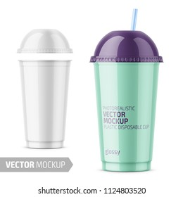 White plastic disposable cup with dome lid for cold beverage - soda, ice tea or coffee, cocktail, milkshake, juice. 450 ml. Realistic packaging mockup template. Vector illustration.
