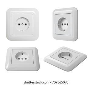 White plastic european electrical socket with ground, white background, in different angles