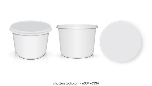 White plastic glass for your design and logo. It's easy to change colors. Mock Up. Vector EPS 10