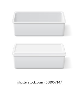 White plastic opened and closed container for margarine, butter, ice cream or cheese on white background. Packaging food box realistic mock up.