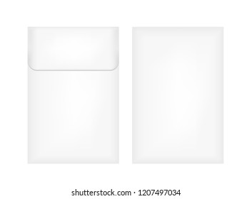 White plastic or paper packaging. Cardboard envelope.