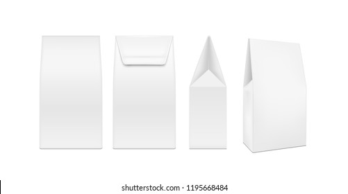 White plastic or paper packaging. Sachet for tea, coffee, sweets, cookies and gift.