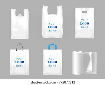 White plastic shopping bags, disposable T-shirt bag packaging and roll of food packaging film, set vector realistic illustrations isolated on gray background. Mock up, template ready for brand design