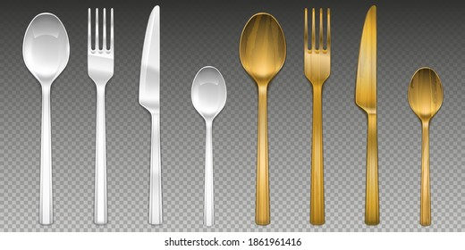 White plastic and wooden cutlery isolated on transparent background. Vector realistic set of flatware, reusable bamboo fork, spoon and knife, disposable plastic tableware
